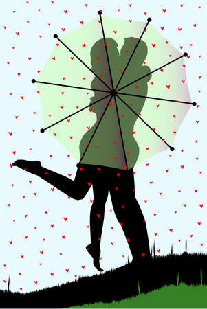 A couple having their first kiss behind an umbrella  Stock Vector - 20708988