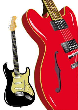 stratocaster: Two classoc rock and roll guitars isolated on white