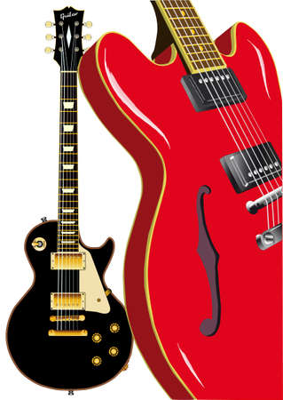 gibson: Two classic blues guitars isolated on a white background