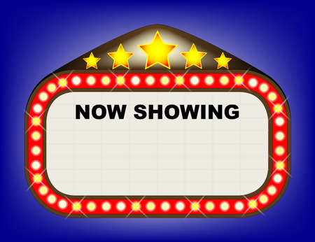 A movie theatre or theatre marquee with the text  NOW SHOWING  with copy space for other text  Vector