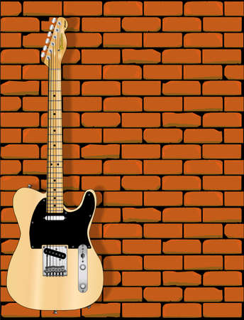 fender: A fender Telecaster in front of a red brick wall