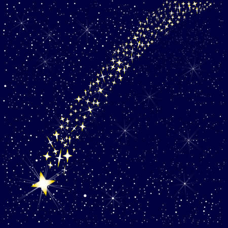 A falling star in the night sky Vector
