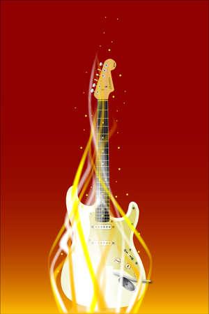 Abstract burning guitar