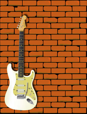 A Fender Telecaster in front of a red brick wall