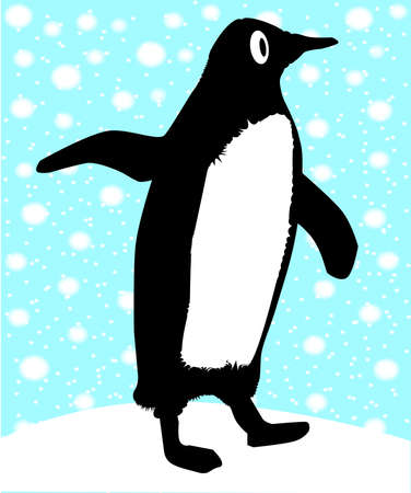 A single penguin in a snowstorm  Vector