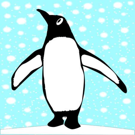 A single penguin in a snowstorm Stock Vector - 20709222