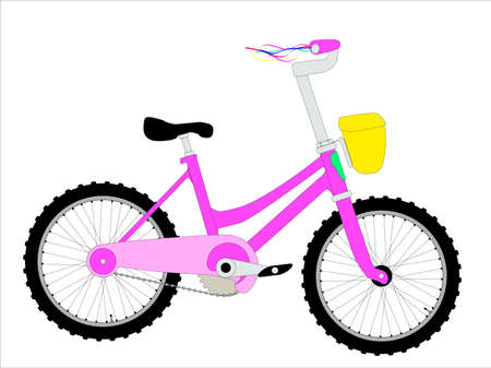 child's: A little girls bicycle with ribbons on the handlebars