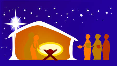 The birth of Jesus with the star and the three wise men bearing gifts  Vector
