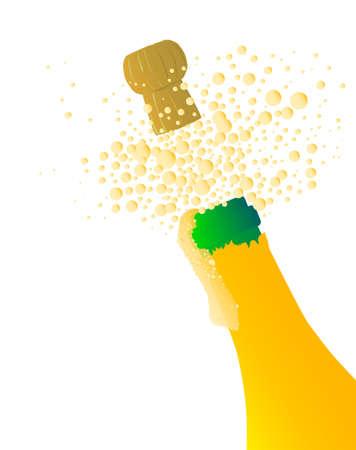pressure bottle: Botella de champ?n abri?ndose con espuma y burbujas