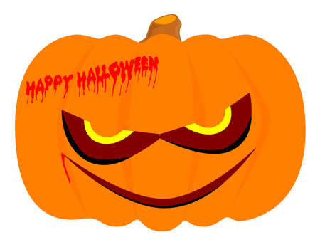 Evil halloween pumpkin isolated over a white background  Vector
