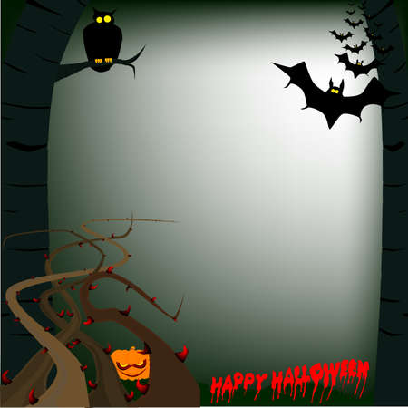 A scary halloween woodland scene with bats and an owl  Vector