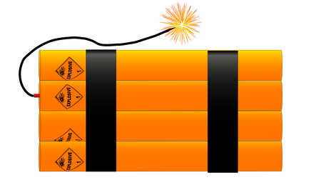 The traditional sticks of dynamite with a lit fuse Vector