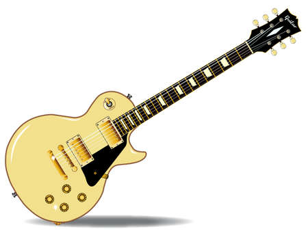 The definitive rock and roll guitar in cream, isolated over a white background