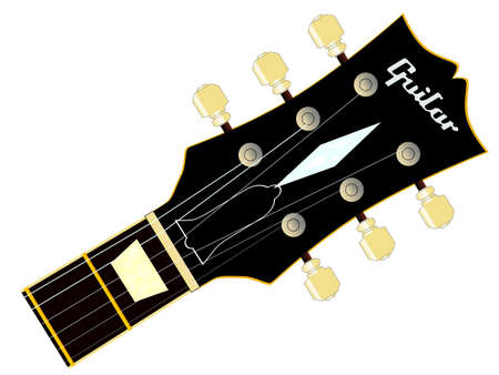 gibson: A traditional guitar headstock with strings and tuners