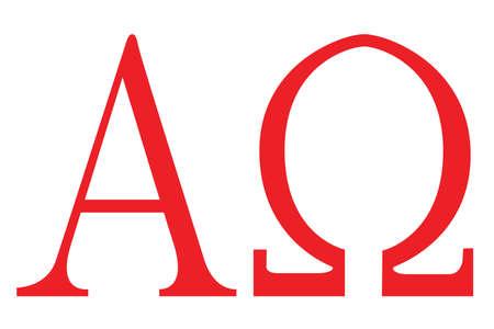 The Alpha - Omega symbols from the Christian religion  Stock Illustratie