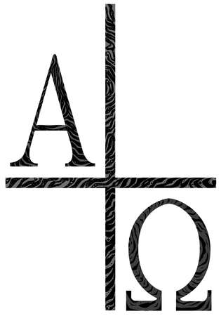 The Alpha - Omega symbols from the Christian religion  Illustration