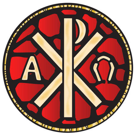 A stained glass window depicting the Alpha Omega symbols  Vector