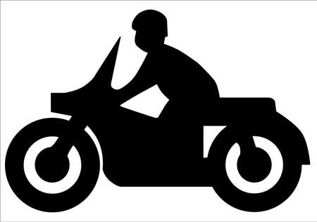 a white police motorcycle: Silhouette of a motorcycle and rider of the type found on traffic signs  Illustration