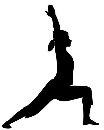 asana: A yoga pose or asana in silhouette isolated over white  Illustration