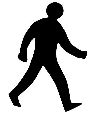 A walking man silhouette as found on traffic signs, isolated on white