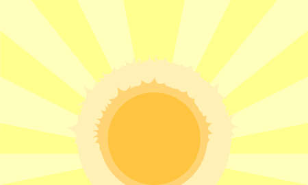 A sun with yellow rays as a background  Vector