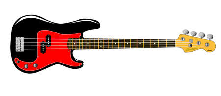 A generic bass guitar isolated on white  Illustration