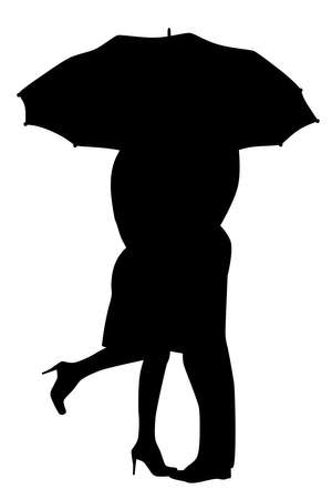 lovers kissing: A courting couple, silhouette in the rain, kissing under an umbrella, during a downpour of rain  Illustration