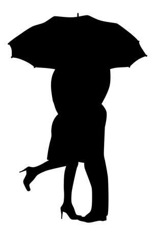 innamorati che si baciano: Una coppia corteggiamento, silhouette, sotto la pioggia, baciarsi sotto un ombrello, durante un acquazzone di pioggia