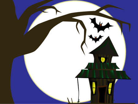 ghostly: A haunted cottage on Halloween with a full moon  Illustration