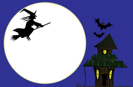 A witches cottage on Halloween with a full moon  Ilustração