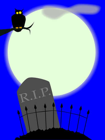 A gravestone and owl in a cemetery with fence set against the full moon