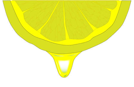 A drop of lemon dripping from a lemon slice