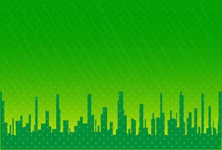 fade out: A green city background set against a grungy type backdrop  Illustration