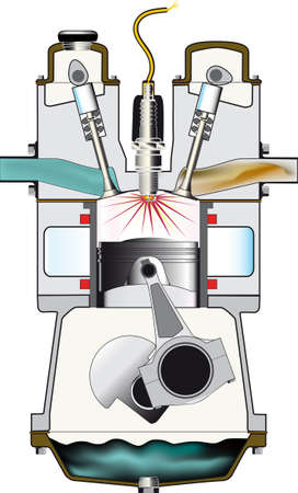 A four stroke petrol engine on its ignition stroke - one of a set of four  Illustration