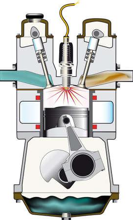 Un moteur à essence à quatre temps à sa course d'allumage - un d'un ensemble de quatre