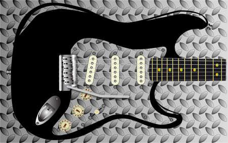 pickups: Un disegno battistrada di metallo di alluminio sbiadita o acciaio con una chitarra sovrapposto