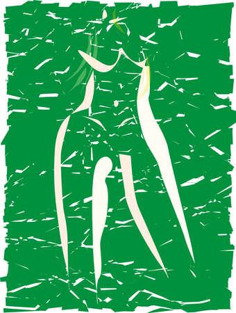 eden: Eine abstrakte Grunge Bild von Eve mit Feigenblatt Kleidung Illustration