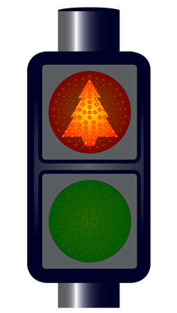 light emitting diode: Spoof red Christmas Tree Traffic Lights isolated  Illustration