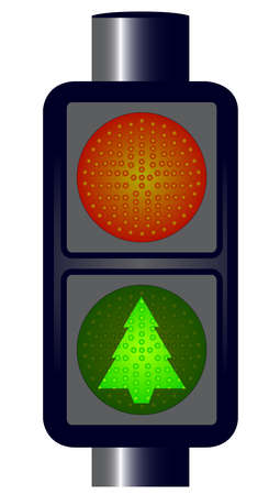 emitting: Spoof red Christmas Tree Traffic Lights isolated  Illustration