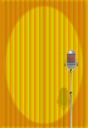 A microphone ready on stage against a bright yellow curtain  Stock Vector - 22573305