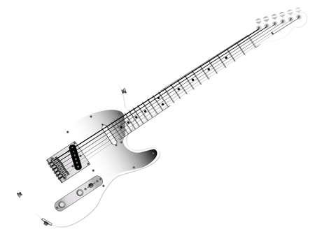 pickups: Una chitarra elettrica quasi invisibile isolato su uno sfondo bianco