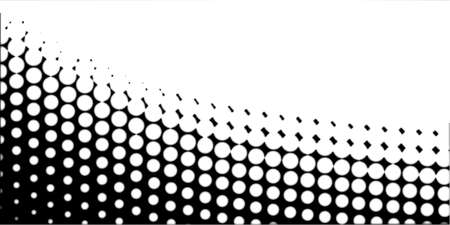 half tone: A half tone image with white dots set against a black background and black dots against a white background