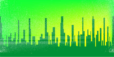 A jaded grunge cityscape in green with a green sky with ilumination  Vector