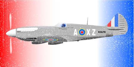 avion de chasse: A Supermarine Spitfire la Seconde Guerre mondiale Mark XIV avion de chasse en patrouille sur un fond blanc et bleu rouge patriotique avec effet grunge