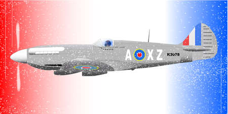usaf: A Supermarine World War II Spitfire Mark XIV  fighter plane out on patrol against a patriotic red white and blue background with grunge effect  Illustration