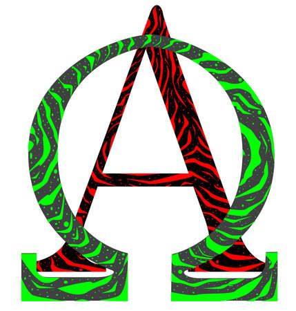 The Alpha Omega letters from the Greek alphabet  Illustration