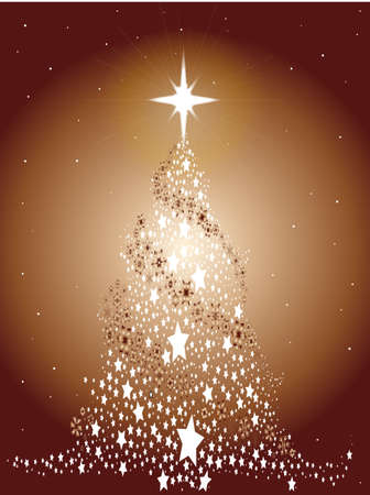 A metal look Christmas Tree created from snowflakes and stars  Illustration