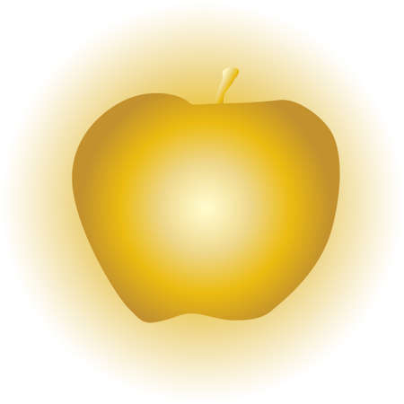 golden apple: A golden apple on a golden glow background