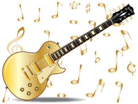 pickups: La roccia definitiva e chitarra roll con un oro dipinte alto, isolato su uno sfondo bianco con note musicali Vettoriali