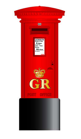 A british Royal Mail post box isolated over a white background  Vectores